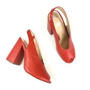 River Island High Vamp Sling Back Heeled Shoes Red